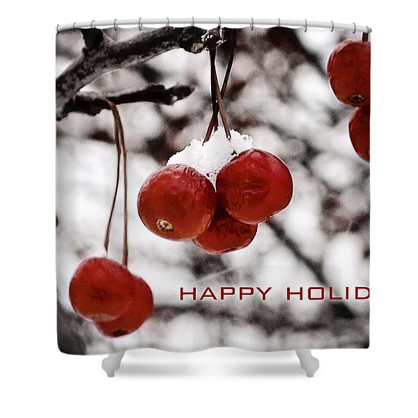 Happy Holidays Berries Shower Curtain