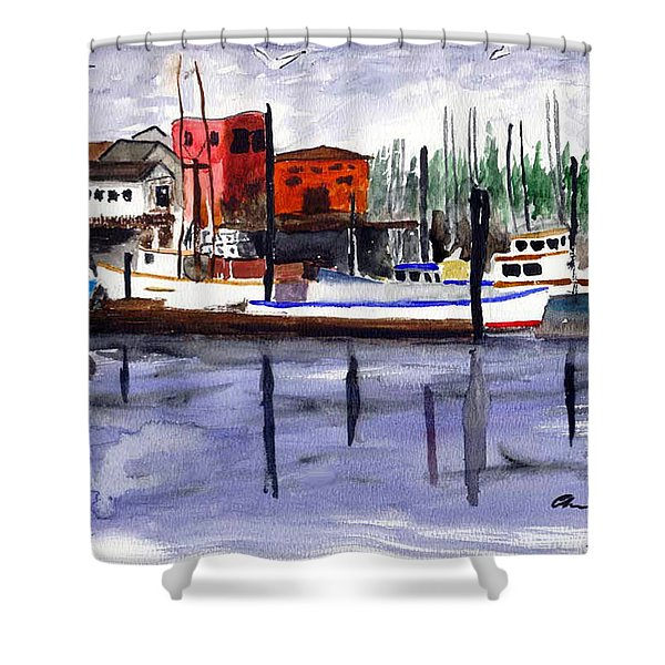 Harbor Fishing Boats Shower Curtain