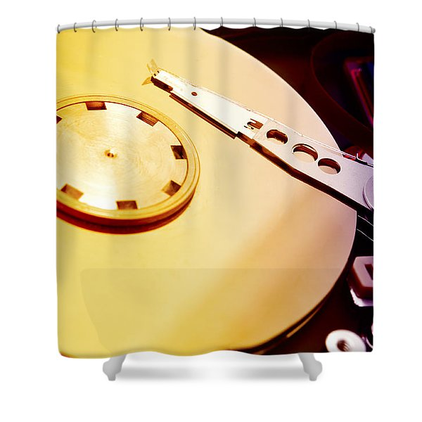 Shower Curtain featuring the photograph Hard Disk Detail by Fabrizio Troiani