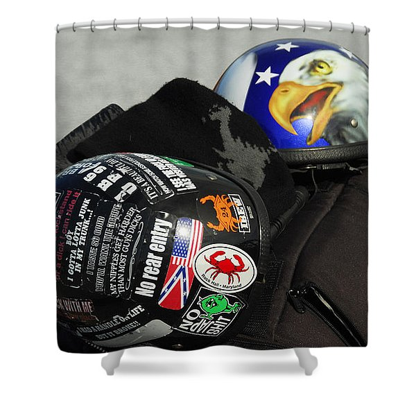 Harley Helmets Shower Curtain