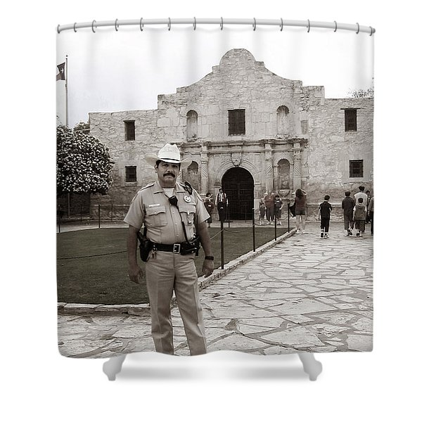 Shower Curtain featuring the photograph He Guards The Alamo by Lorraine Devon Wilke