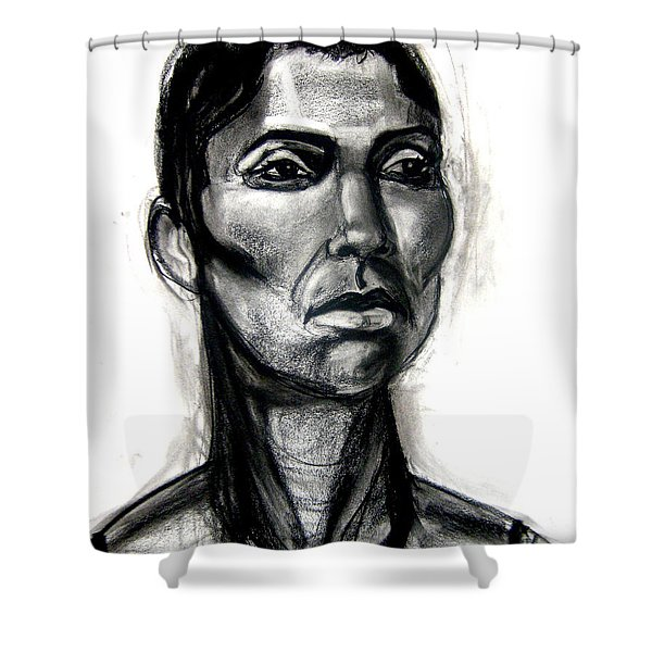 Shower Curtain featuring the drawing Head Study by Gabrielle Wilson-Sealy