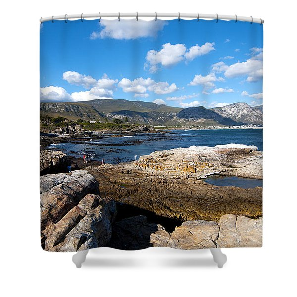 Shower Curtain featuring the photograph Hermanus Coastline by Fabrizio Troiani