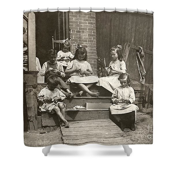 Hine: Home Industry, 1912 Shower Curtain