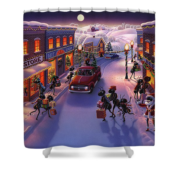 Holiday Shopper Ants Shower Curtain