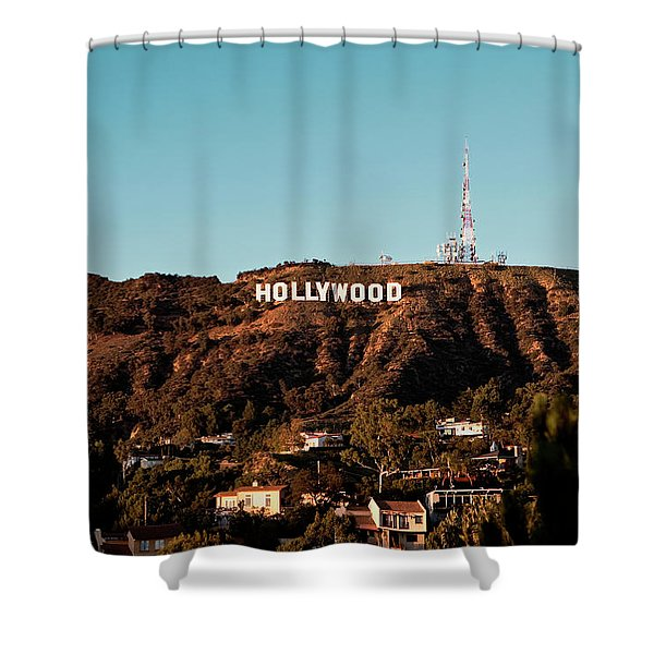 Shower Curtain featuring the photograph Hollywood Sign At Sunset by Lorraine Devon Wilke