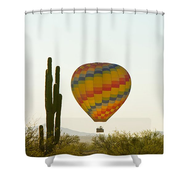 Hot Air Balloon In The Arizona Desert With Giant Saguaro Cactus Shower Curtain