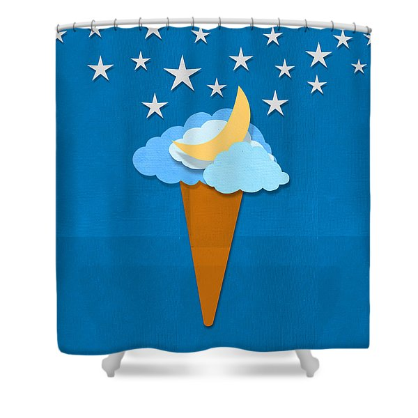 Ice Cream Design On Hand Made Paper Shower Curtain