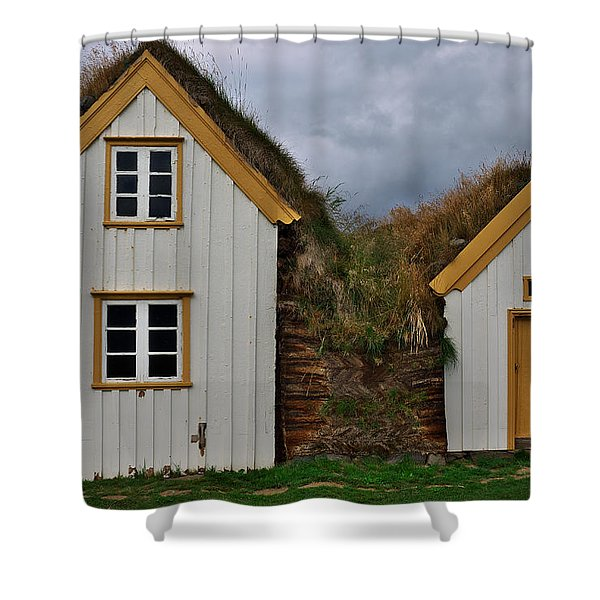 Icelandic Turf Houses Shower Curtain