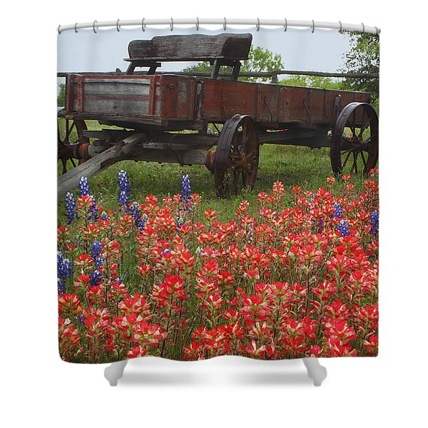 Indian Paintbrush And Wagon Shower Curtain