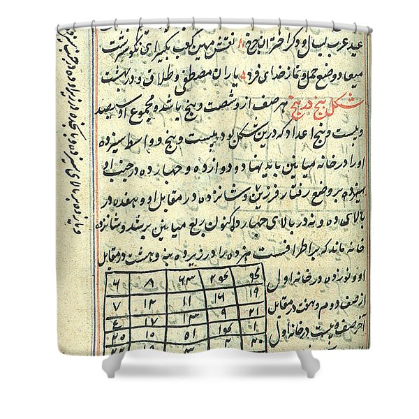 Islamic Magic Squares, 18th Century Shower Curtain
