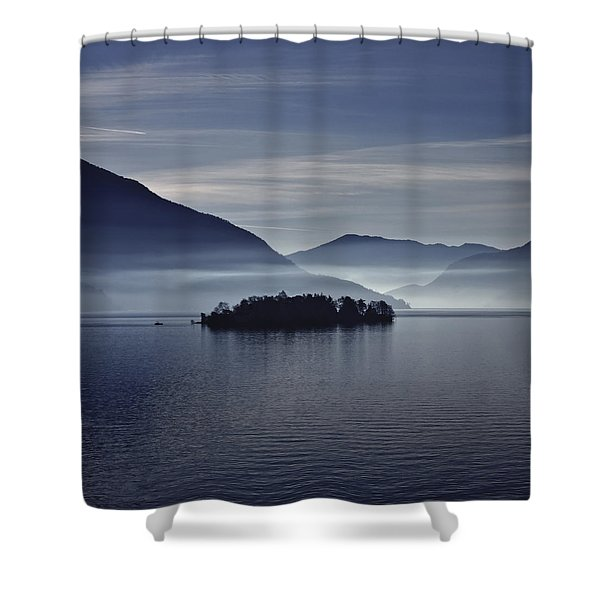 Island In Morning Mist Shower Curtain
