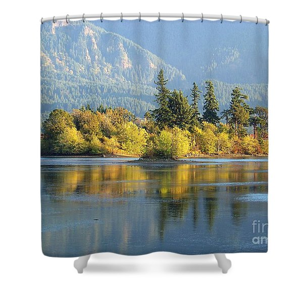 Shower Curtain featuring the photograph Island Reflection by Charles Robinson