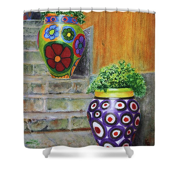 Shower Curtain featuring the painting Italian Vases by Karen Fleschler
