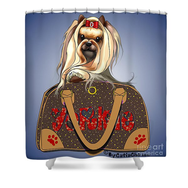It's A Yorkie In A Bag  Shower Curtain