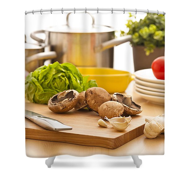Kitchen Still Life Preparation For Cooking Shower Curtain