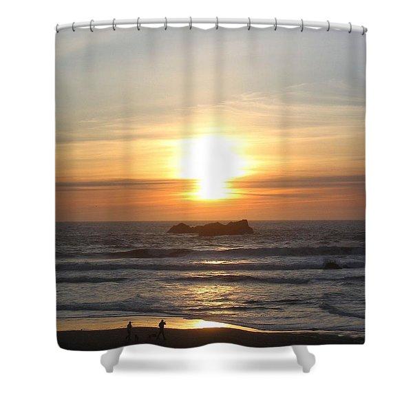 Kite Flying At Sundown Shower Curtain