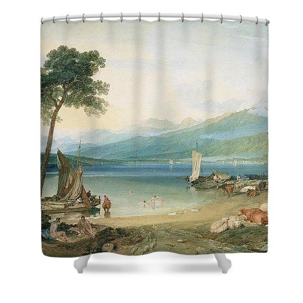 Lake Geneva And Mont Blanc Shower Curtain