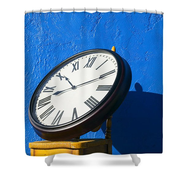 Large Clock On Yellow Chair Shower Curtain