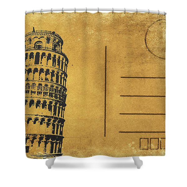 Leaning Tower Of Pisa Postcard Shower Curtain