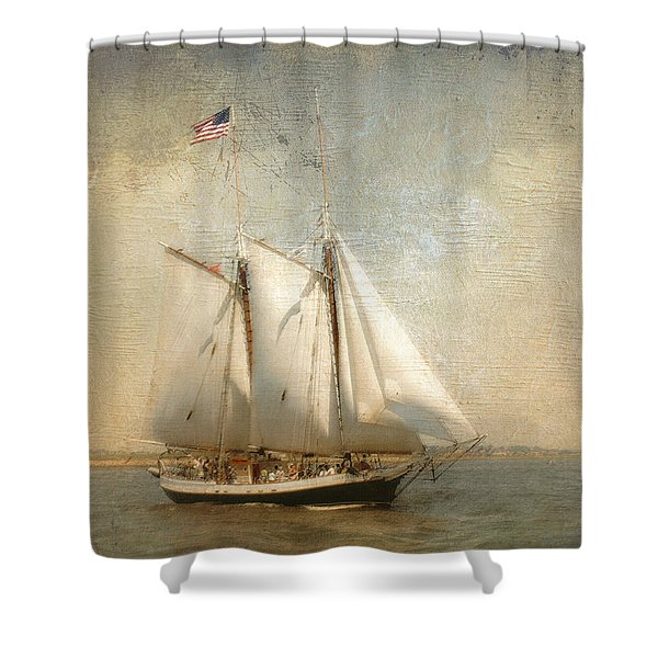 Liberty Clipper On Boston Harbor Shower Curtain