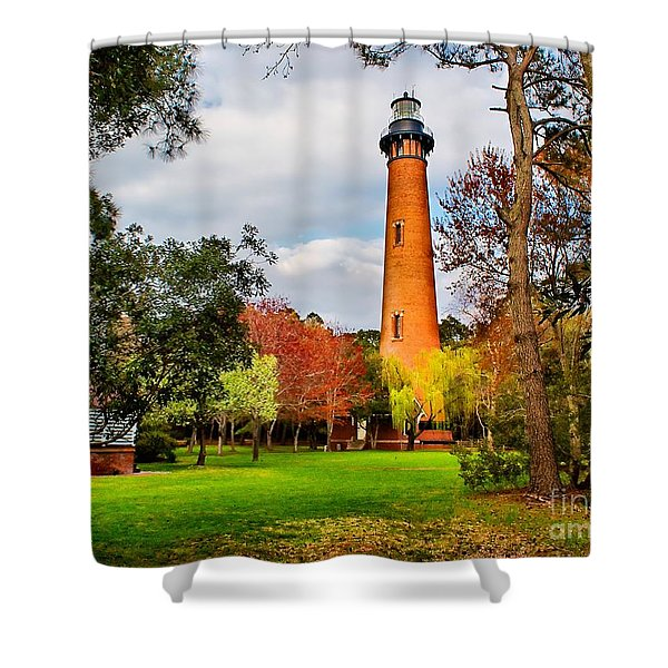 Lighthouse At Currituck Beach Shower Curtain