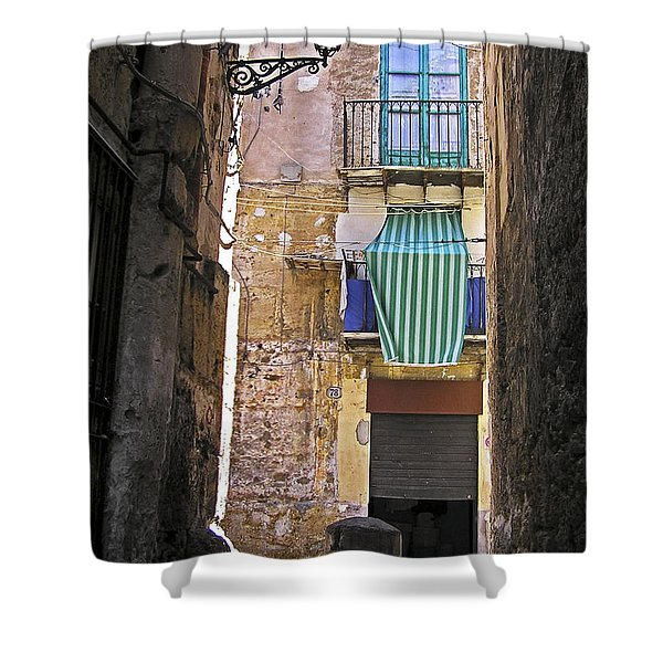 Shower Curtain featuring the photograph Little Street Of Palermo by Silva Wischeropp