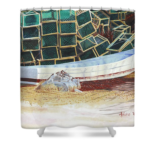 Shower Curtain featuring the painting Lobster Traps And Dory by Dominic White