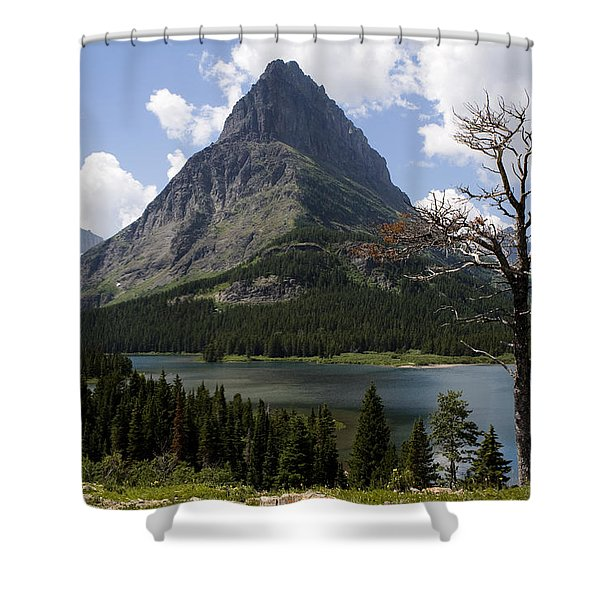 Shower Curtain featuring the photograph Lone Tree At Sinopah Mountain by Lorraine Devon Wilke