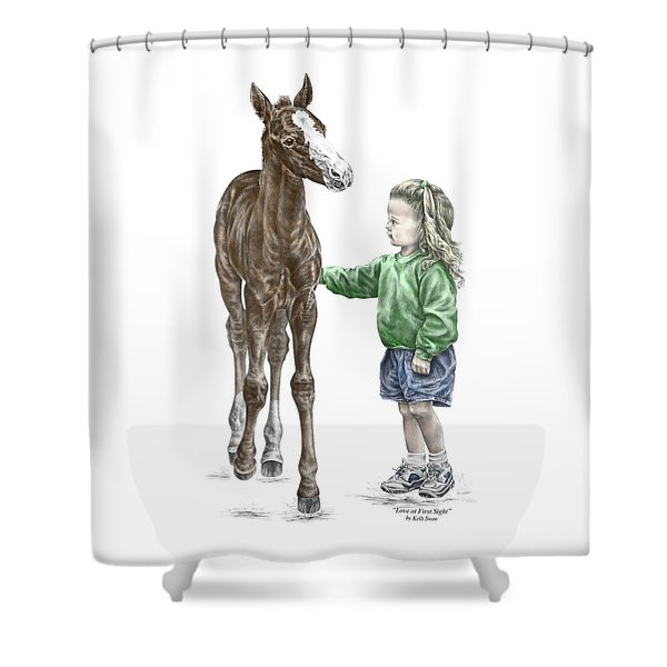 Love At First Sight - Girl And Horse Print Color Tinted Shower Curtain