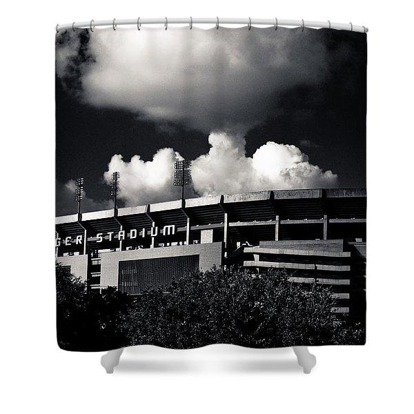 Lsu Tiger Stadium Black And White Shower Curtain