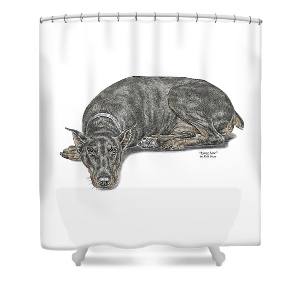 Lying Low - Doberman Pinscher Dog Print Color Tinted Shower Curtain