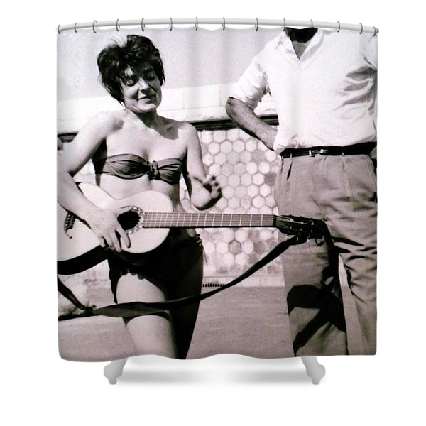 Mama Chris And Gary Cooper In Monte Carlo 1958 Shower Curtain