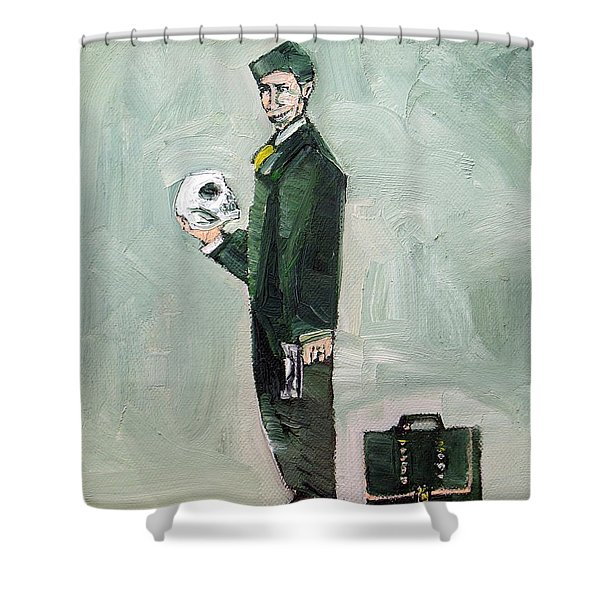 Man With Skull Gun And Suitcase Shower Curtain