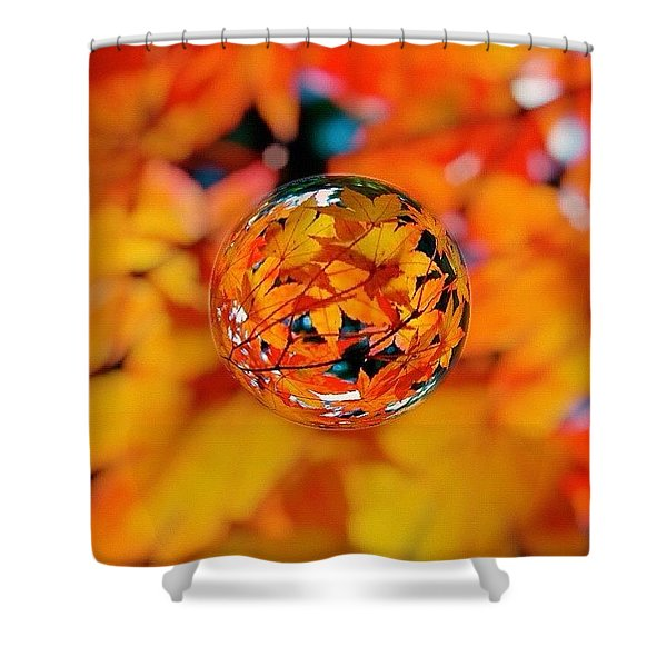 Marbled Orange Maple Leaves Shower Curtain