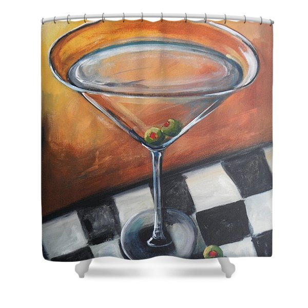 Martini On Checkered Tablecloth Shower Curtain