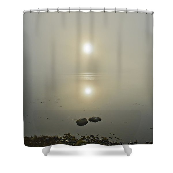 Misty Sunrise On The Loch  Shower Curtain