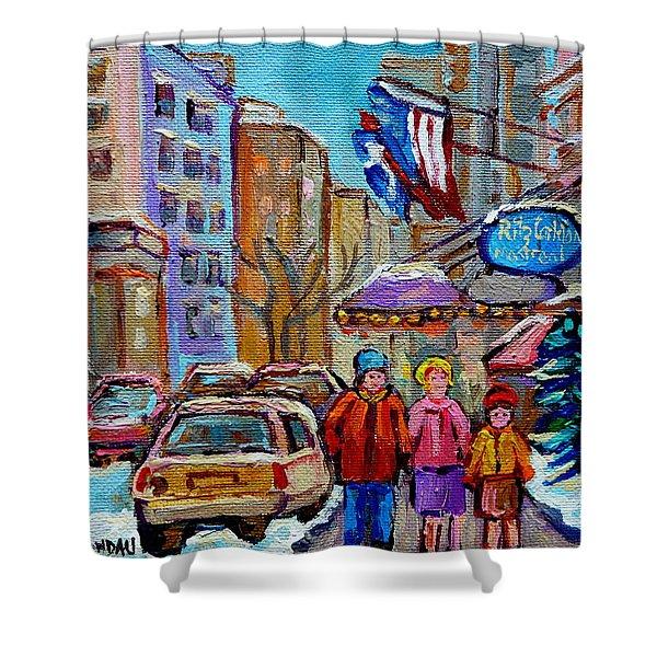 MONTREAL STREET SCENES IN WINTER Shower Curtain by CAROLE SPANDAU
