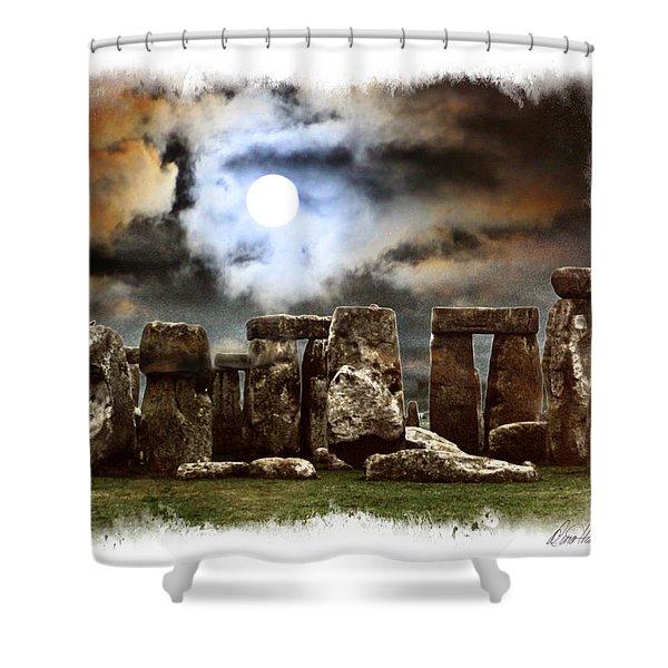 Moon Over Stonehenge Shower Curtain