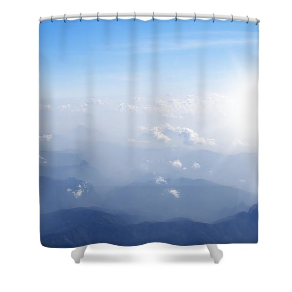Mountain With Blue Sky And Clouds Shower Curtain