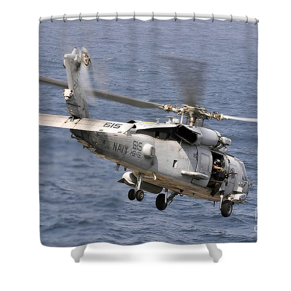 N Hh-60h Sea Hawk Helicopter In Flight Shower Curtain