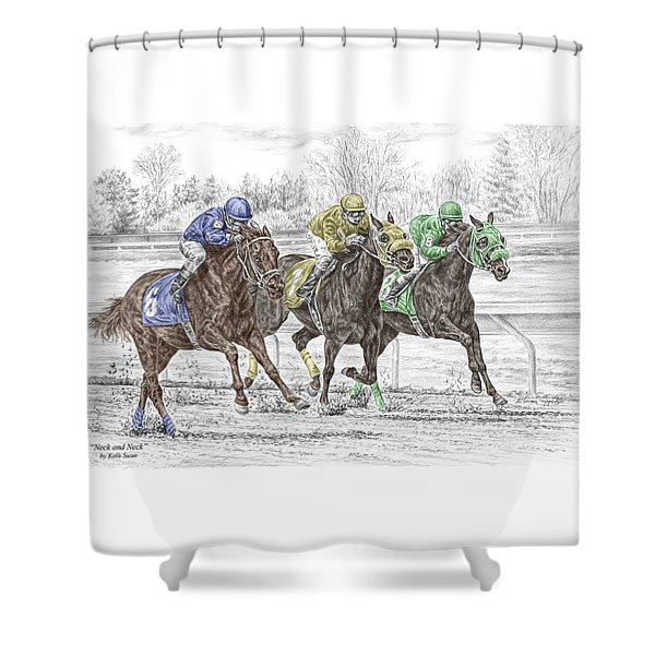Neck And Neck - Horse Race Print Color Tinted Shower Curtain