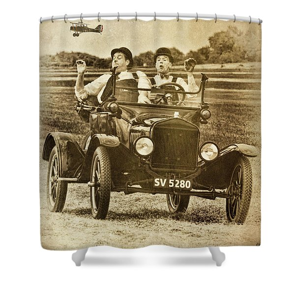 Not Likely Laurel And Hardly Hardy Shower Curtain
