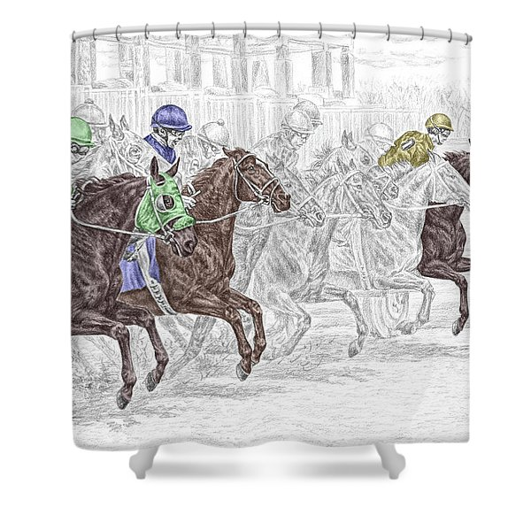 Odds Are - Tb Horse Racing Print Color Tinted Shower Curtain