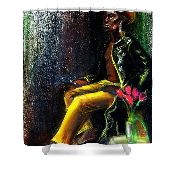 Shower Curtain featuring the drawing Odelisque by Gabrielle Wilson-Sealy