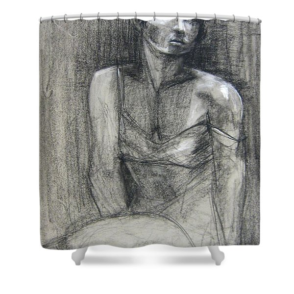 Shower Curtain featuring the drawing Off The Shoulder by Gabrielle Wilson-Sealy