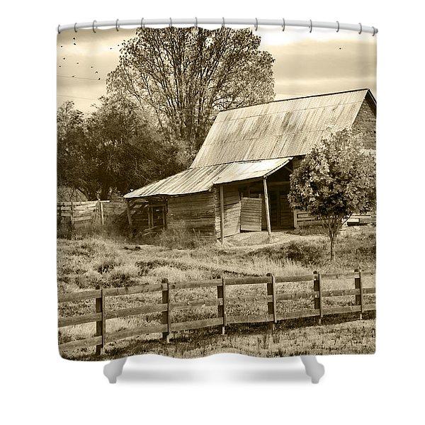 Old Barn Sepia Tint Shower Curtain