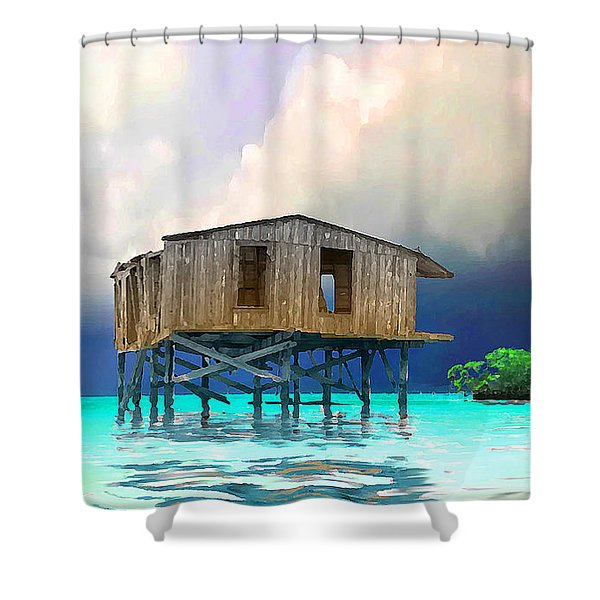 Old House Near The Storm Filtered Shower Curtain