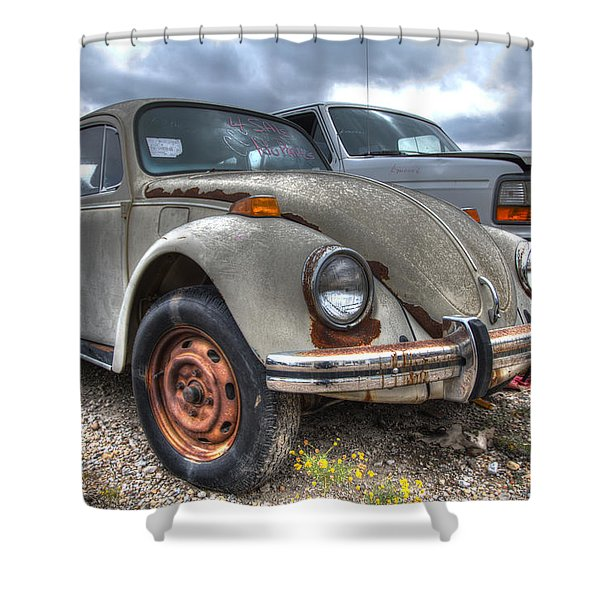 Old Vw Beetle Shower Curtain