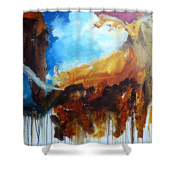 Shower Curtain featuring the painting On Safari by Keith Thue